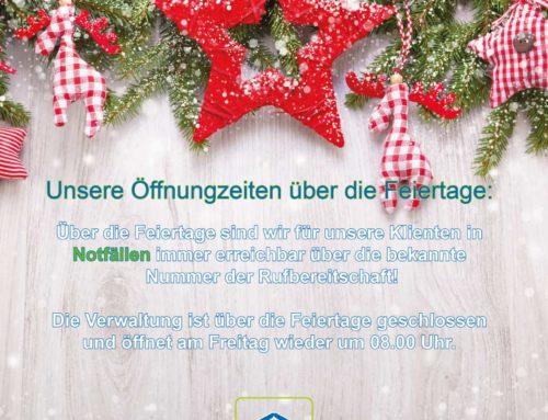 Öffnungszeiten über die Weihnachtstage 2019